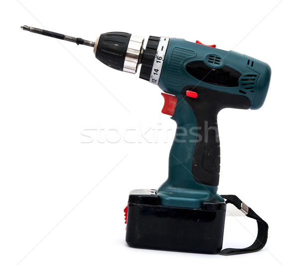 Battery-powered electric drill on white background Stock photo © inxti