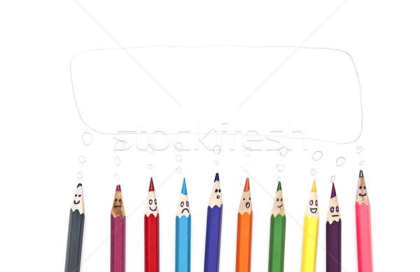 Stockfoto: Gelukkig · groep · potlood · gezichten · tekstballon
