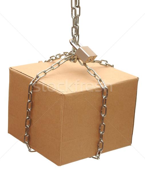 Stok fotoğraf: Kapalı · zincir · kilitlemek · beyaz · arka · plan