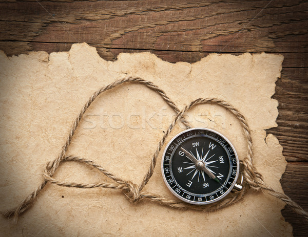Stock photo: compass, rope and old paper on border wood background