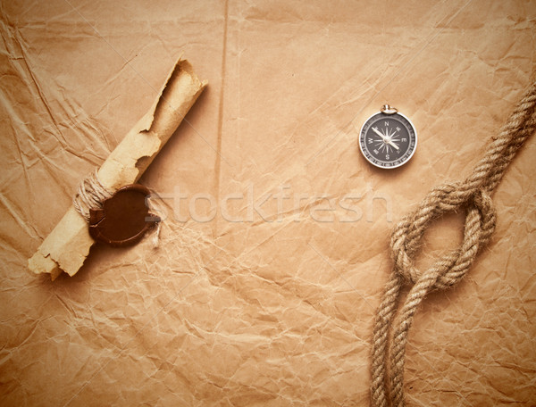 scroll with wax seal and rope Stock photo © inxti