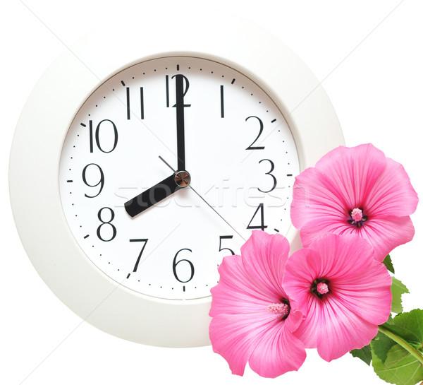 Parede relógio branco negócio flor assinar Foto stock © inxti