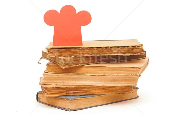 Könyv boglya papír szakács sapka forma étel Stock fotó © inxti