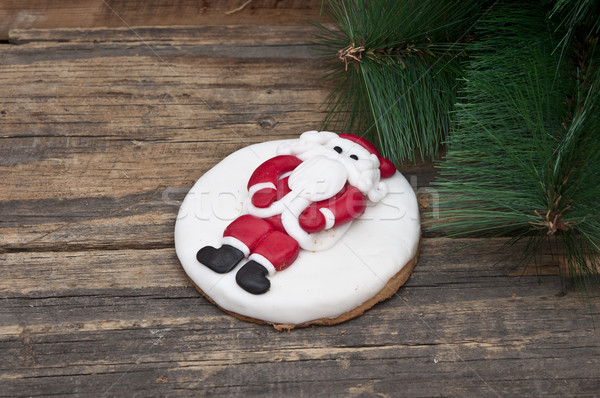 gingerbread cookie with mandarins on an old wooden Christmas bac Stock photo © inxti