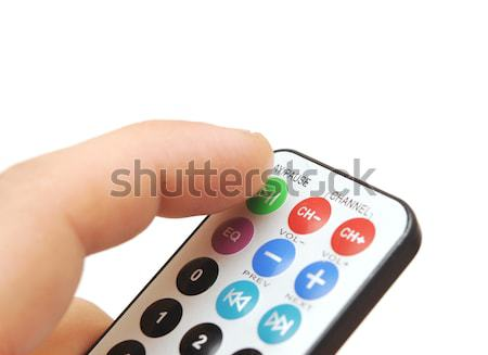 Remote control in hand on white Stock photo © inxti