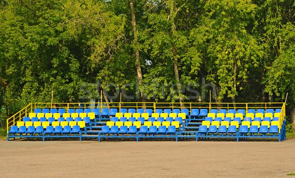 Blue and Yellow empty plastic seats Stock photo © inxti