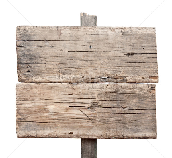 Wooden sign isolated on white. Wood old planks sign.  Stock photo © inxti