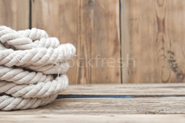 ship ropes on wood background textur Stock photo © inxti