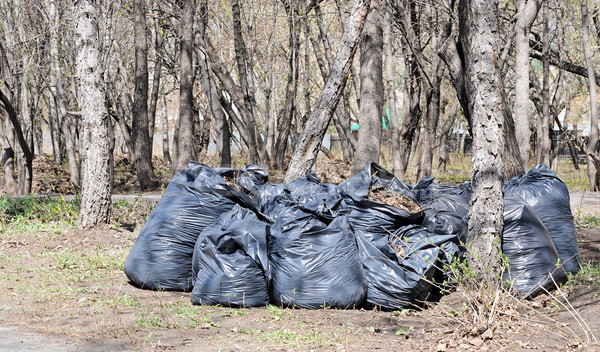 Many black garbage bags at curb Stock photo © inxti