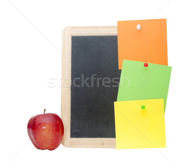 small wooden blank blackboard with colorful note isolated on whi Stock photo © inxti