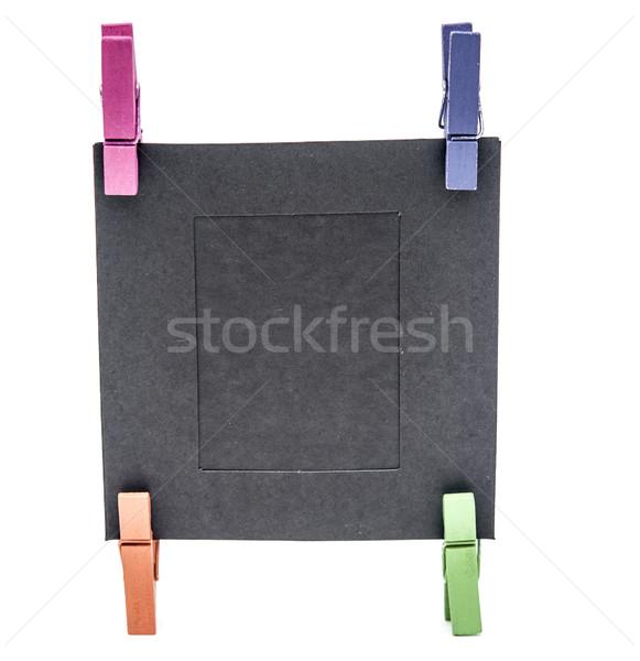 Blanco papier frame kleurrijk geïsoleerd witte papier Stockfoto © inxti