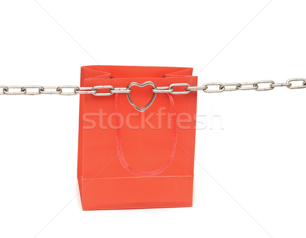 shopping bags and chain with heart on white background  Stock photo © inxti