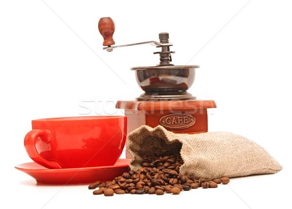 Vermelho copo grãos de café velho café moinho Foto stock © inxti