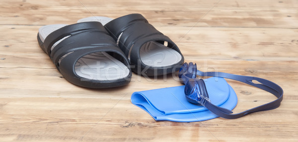 glasses for swimming on wooden background Stock photo © inxti