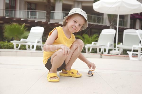 мальчика вертолета лице человека городского весело Сток-фото © inxti