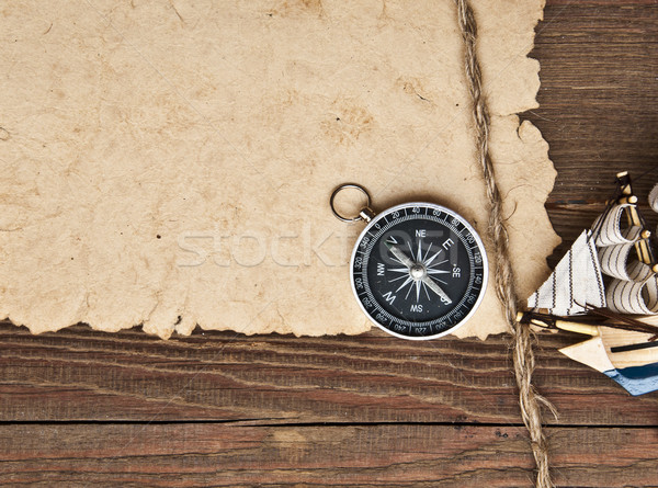 old paper, compass, rope and model classic boat  Stock photo © inxti