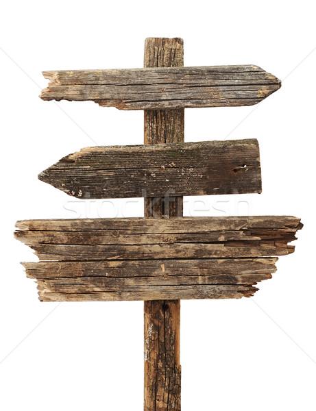 ヴィンテージ 道路標識 孤立した 白 道路 木材 ストックフォト © inxti
