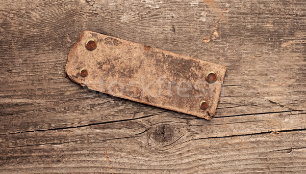 Information old wood signboard on wooden background. With copy s Stock photo © inxti