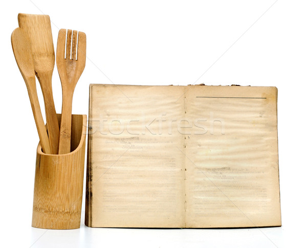 Wooden cooking utensils on white background. add your own text t Stock photo © inxti