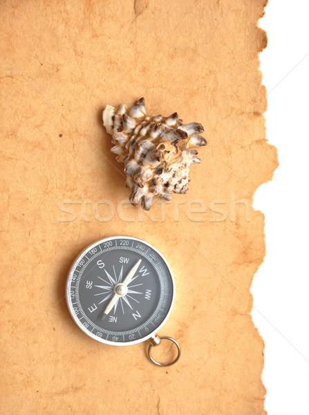 Bússola concha papel velho fundo ouro retro Foto stock © inxti