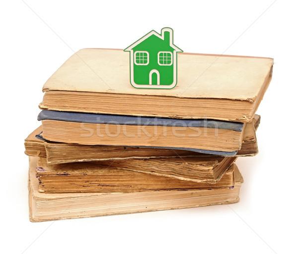 small house icon on pile books Stock photo © inxti