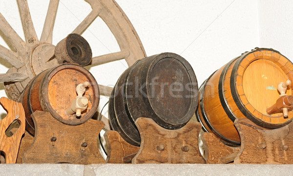 Wooden wagon wheel and antique wooden small draught beer keg Stock photo © inxti