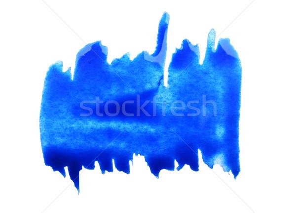 Stockfoto: Blauw · penseel · geïsoleerd · witte · papier · kind