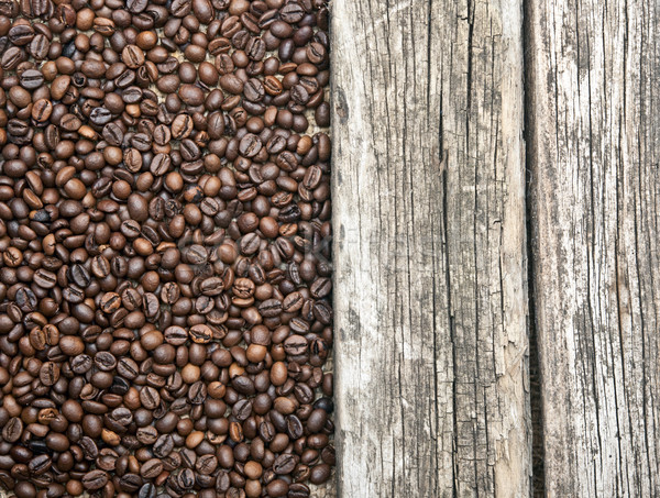Coffee beans border old wood background  Stock photo © inxti