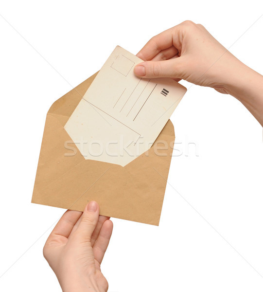 yellow envelope with vintage blank card in the hand  Stock photo © inxti