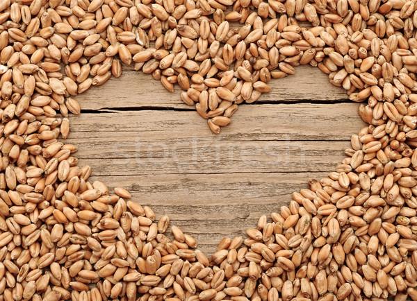 Stockfoto: Vorm · hart · tarwe · houten · gezondheid · brood