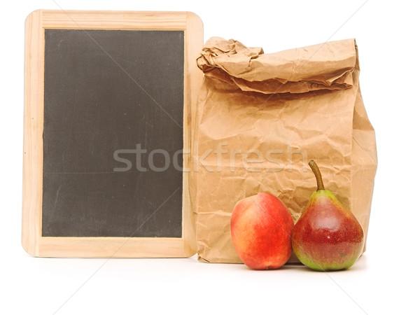 school lunch bag with blank blackboard on white Stock photo © inxti