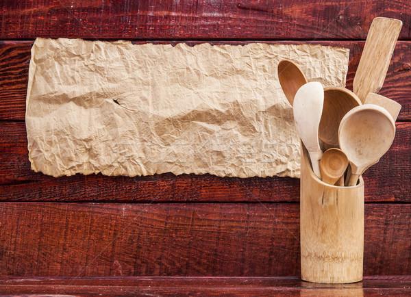 Cocina mesa de madera papel poli vacío Foto stock © inxti
