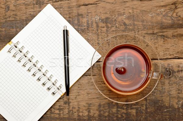 Foto stock: Canetas · chá · tabela · negócio · livro