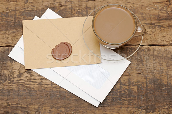 Cera selar mesa de café papel árvore fundo Foto stock © inxti