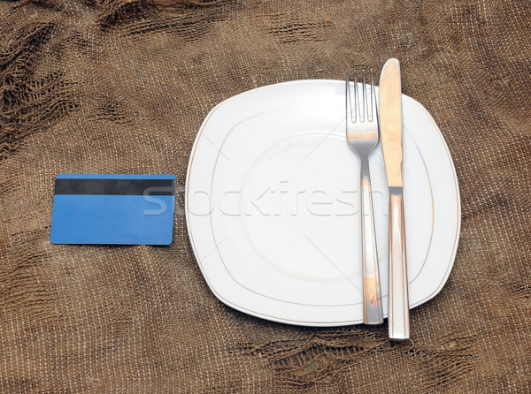 empty plat, fork and knife on old sacking texture  Stock photo © inxti