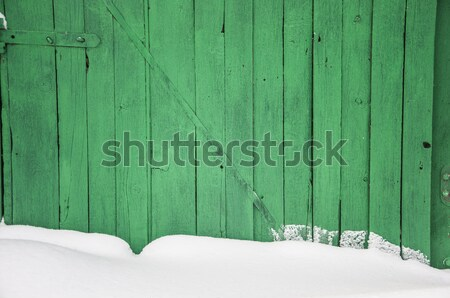 Old wooden fence in a snow drift  Stock photo © inxti