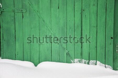 Vieux bois clôture neige printemps fond Photo stock © inxti