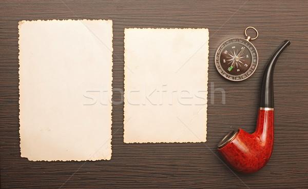 Iránytű cső régi fotó keret fából készült textúra Stock fotó © inxti