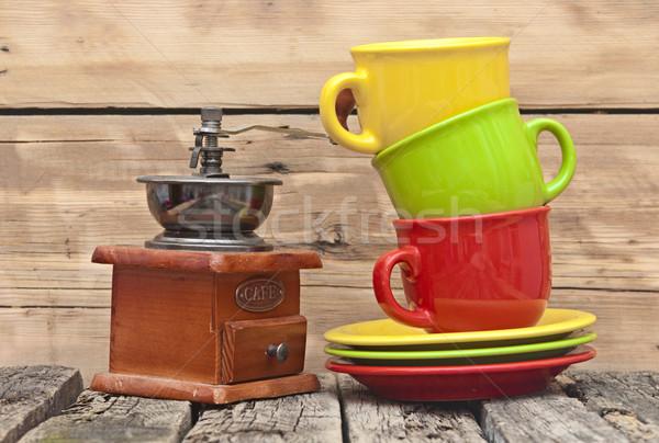 Colorato caffè mill grunge legno muro Foto d'archivio © inxti