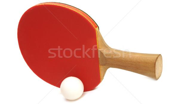 Stock fotó: Asztalitenisz · ütő · labda · izolált · fehér · asztal