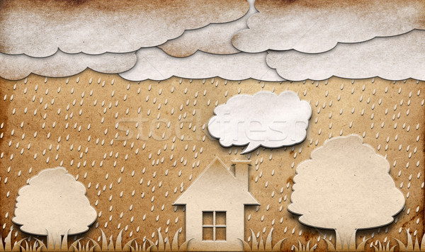 rainy view recycled paper craft stick on brown background Stock photo © inxti