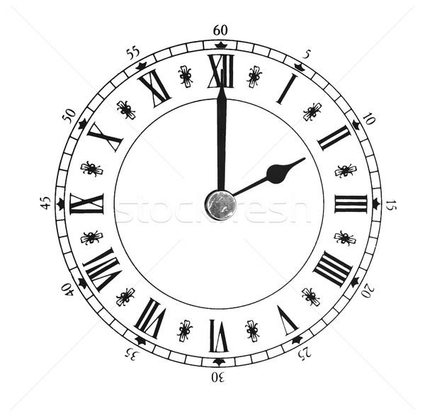 Klasszikus óra fehér arc idő retro Stock fotó © inxti