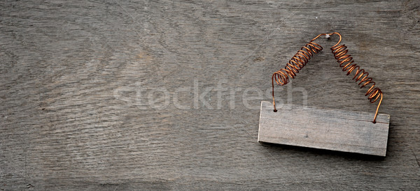 wooden sign on distressed wooden wall  Stock photo © inxti