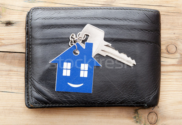 бумажник ключевые древесины домой знак таблице Сток-фото © inxti
