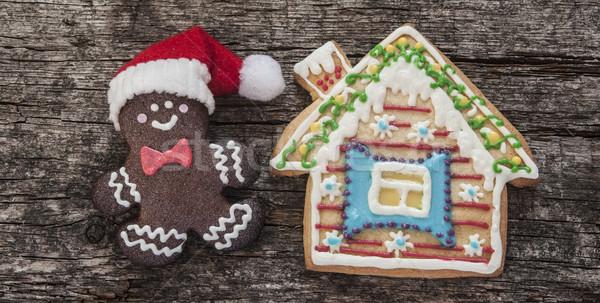 Peperkoek cookies christmas houten tafel eigengemaakt man Stockfoto © inxti