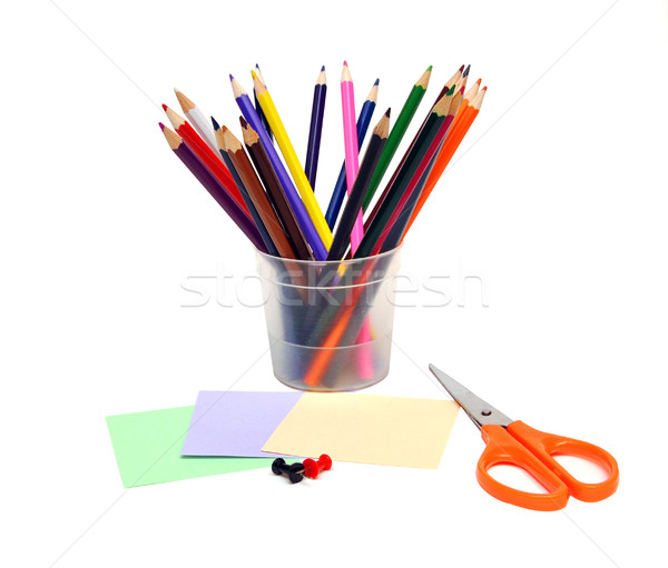 Irodaszer anyagok fehér iroda ceruza háttér Stock fotó © inxti