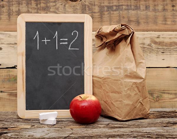 school lunch over blank blackboard Stock photo © inxti