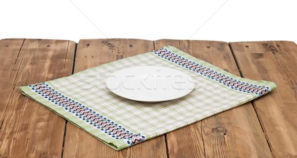 пусто пластина скатерть деревянный стол текстуры древесины Сток-фото © inxti