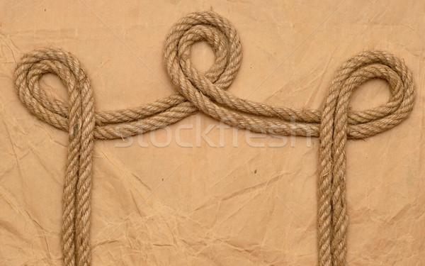 Halat Eski kağıt harita deniz mektup Stok fotoğraf © inxti