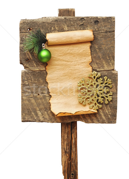 Weathered wooden sign and christmas decoration Stock photo © inxti